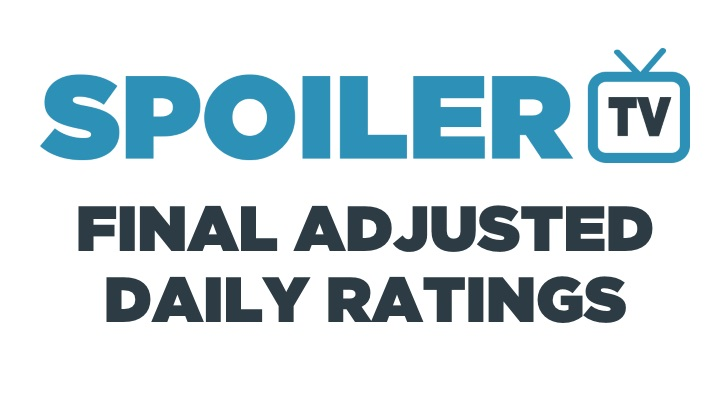 Final Adjusted TV Ratings for Thursday 13th April 2017